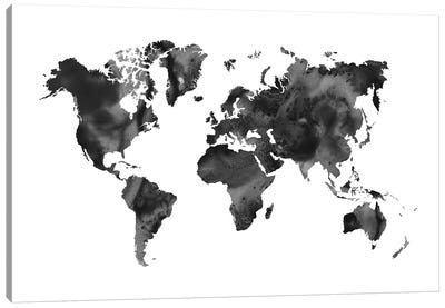 Watercolor World Map Black Canvas Art Print