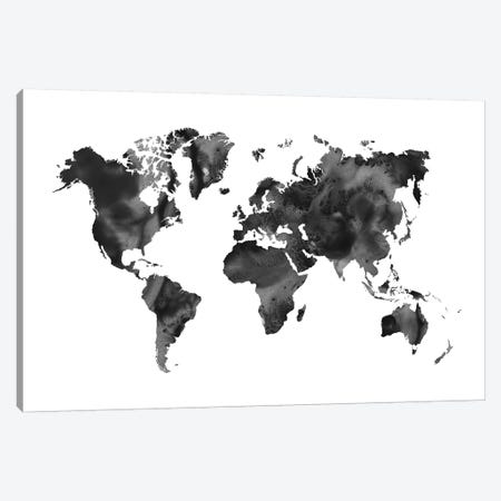 Watercolor World Map Black 3-Piece Canvas #NUV101} by Nouveau Prints Art Print
