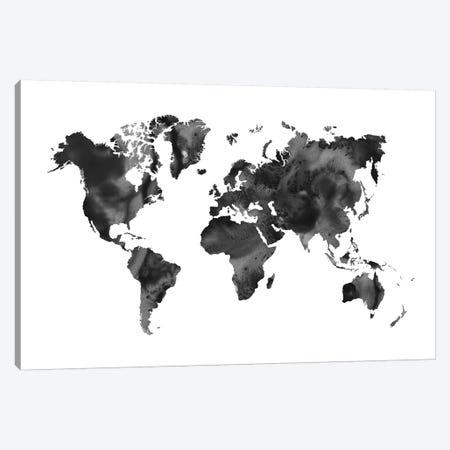 Watercolor World Map Black Canvas Print #NUV101} by Nouveau Prints Art Print