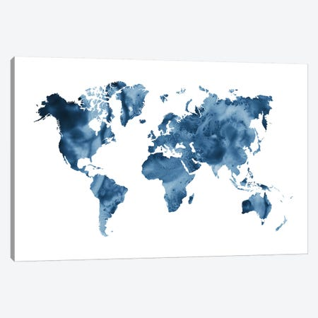 Watercolor World Map Navy Blue 3-Piece Canvas #NUV102} by Nouveau Prints Canvas Print