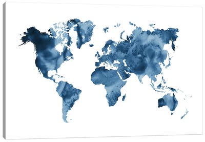 Watercolor World Map Navy Blue Canvas Art Print