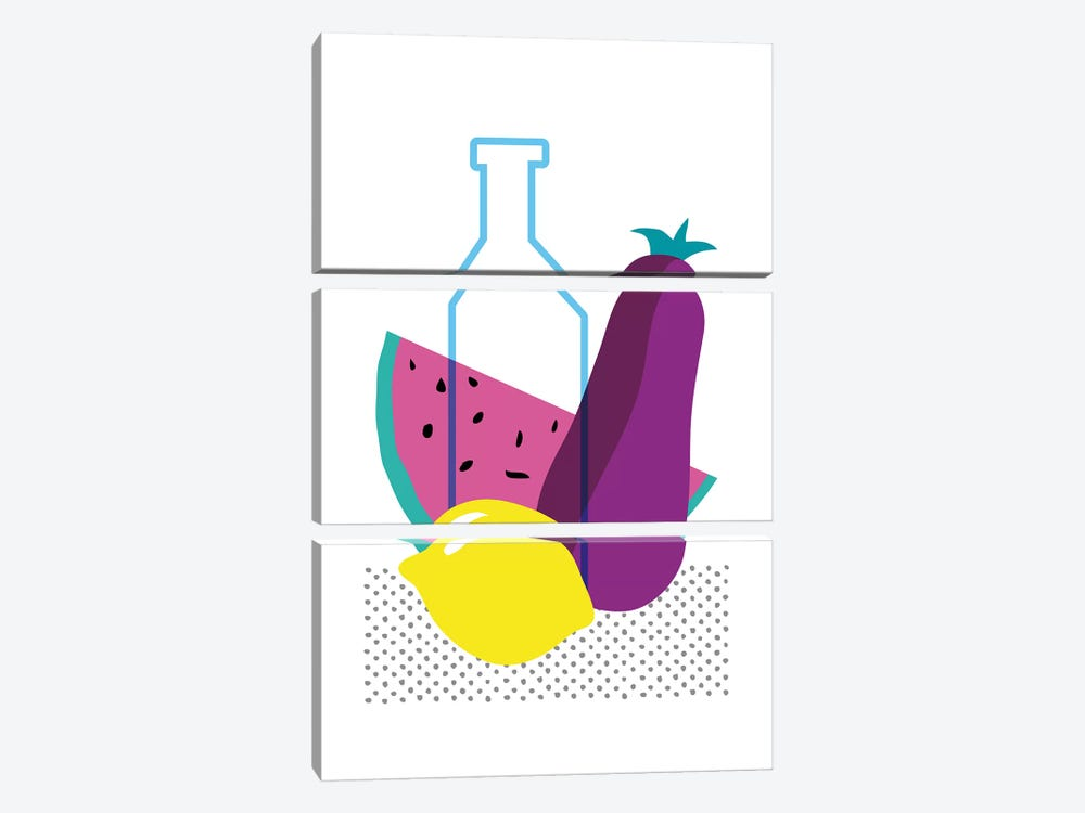 Watermelon, Lemon And Aubergine by Nouveau Prints 3-piece Canvas Artwork