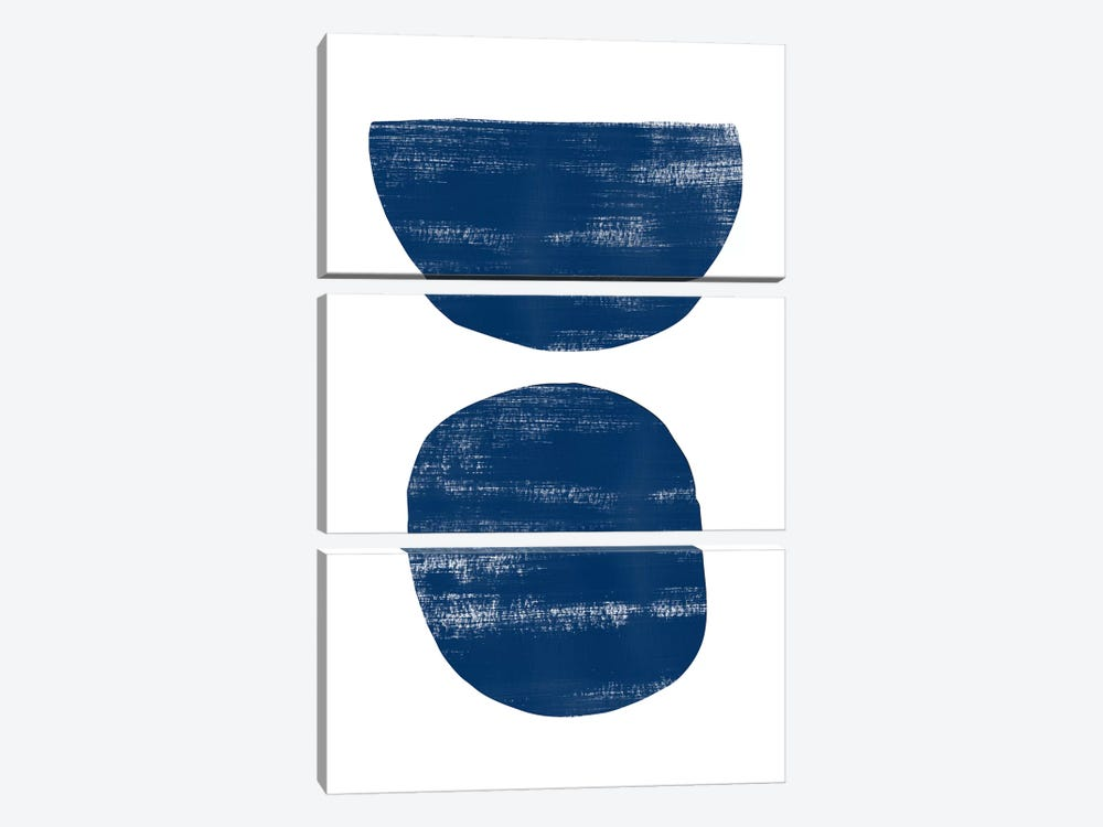 Abstraction I Navy Blue by Nouveau Prints 3-piece Canvas Print