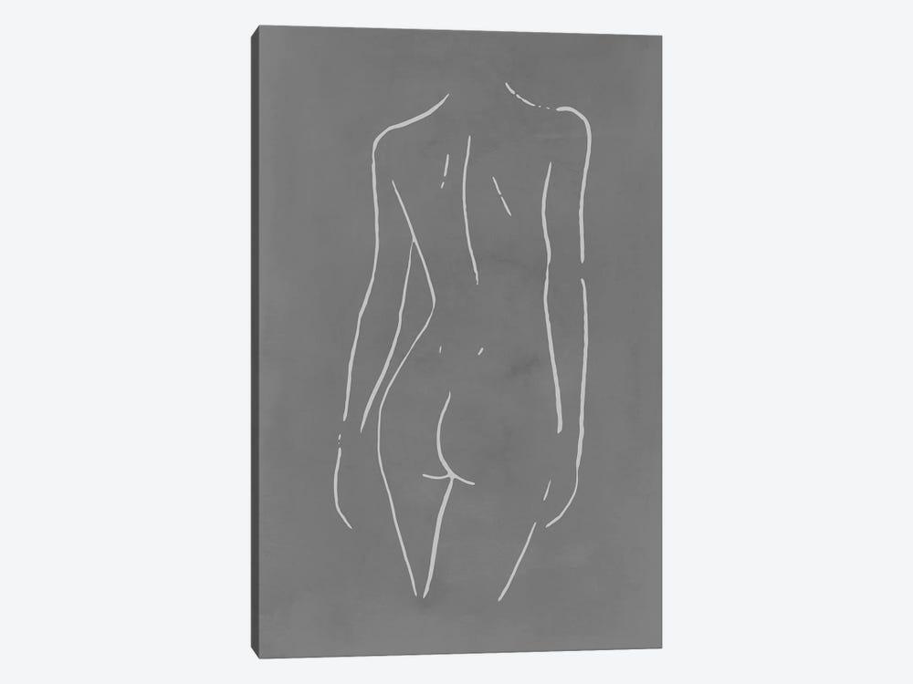 Female Body Sketch - Gray by Nouveau Prints 1-piece Canvas Wall Art