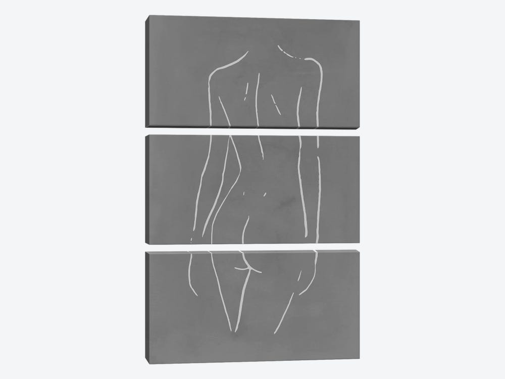 Female Body Sketch - Gray by Nouveau Prints 3-piece Canvas Art