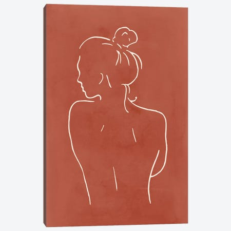Female Body Sketch - Terracotta Canvas Print #NUV116} by Nouveau Prints Canvas Print