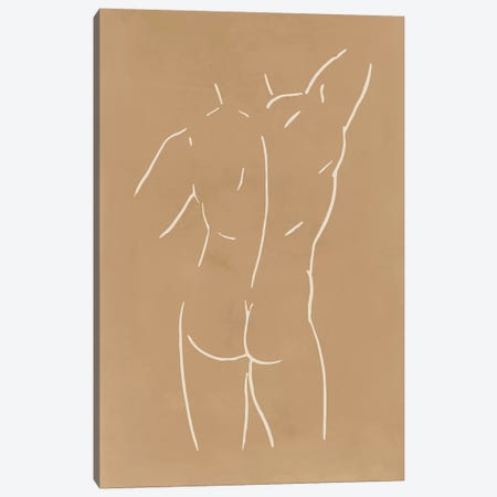 Male Body Sketch - Sand Canvas Print #NUV118} by Nouveau Prints Canvas Artwork