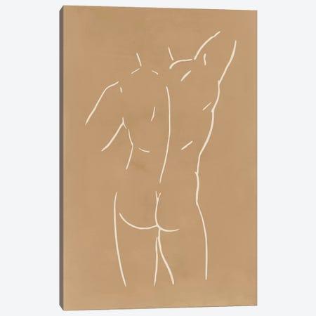 Male Body Sketch - Sand Canvas Print #NUV118} by Nouveau Prints Canvas Artwork