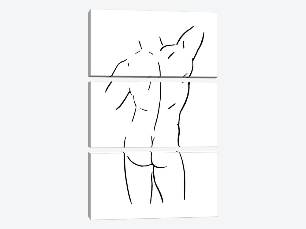 Male Body Sketch I - Black And White by Nouveau Prints 3-piece Canvas Print