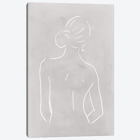 Female Body Sketch - Light Gray Canvas Print #NUV122} by Nouveau Prints Art Print