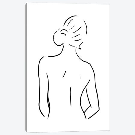 Female Body Sketch IV - Black And White Canvas Print #NUV123} by Nouveau Prints Canvas Print