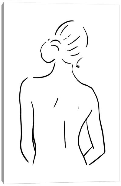 Female Body Sketch IV - Black And White Canvas Art Print