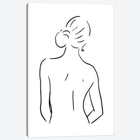 Female Body Sketch IV - Black And White Canvas Print #NUV123} by Nouveau Prints Canvas Print