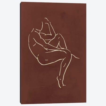 Male Body Sketch - Chocolate Canvas Print #NUV124} by Nouveau Prints Canvas Wall Art