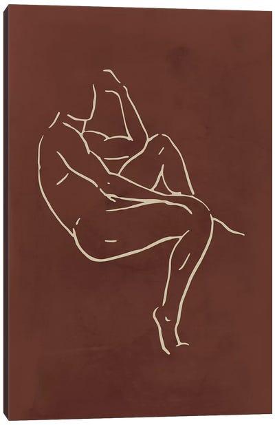 Male Body Sketch - Chocolate Canvas Art Print