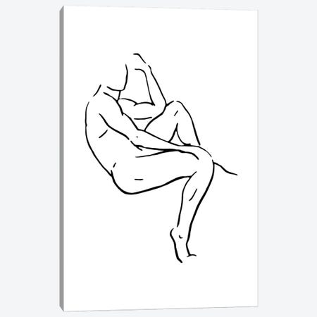 Male Body Sketch II - Black And White Canvas Print #NUV125} by Nouveau Prints Canvas Art