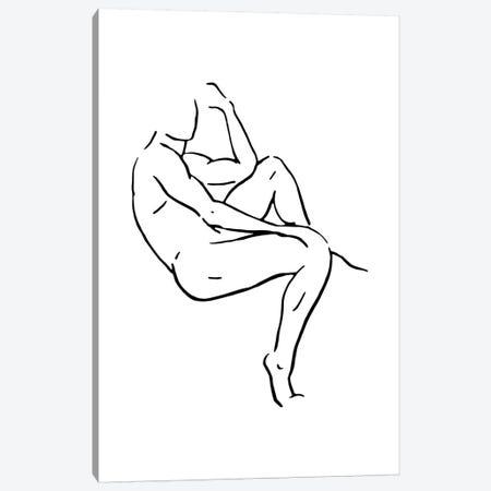 Male Body Sketch II - Black And White Canvas Print #NUV125} by Nouveau Prints Canvas Art