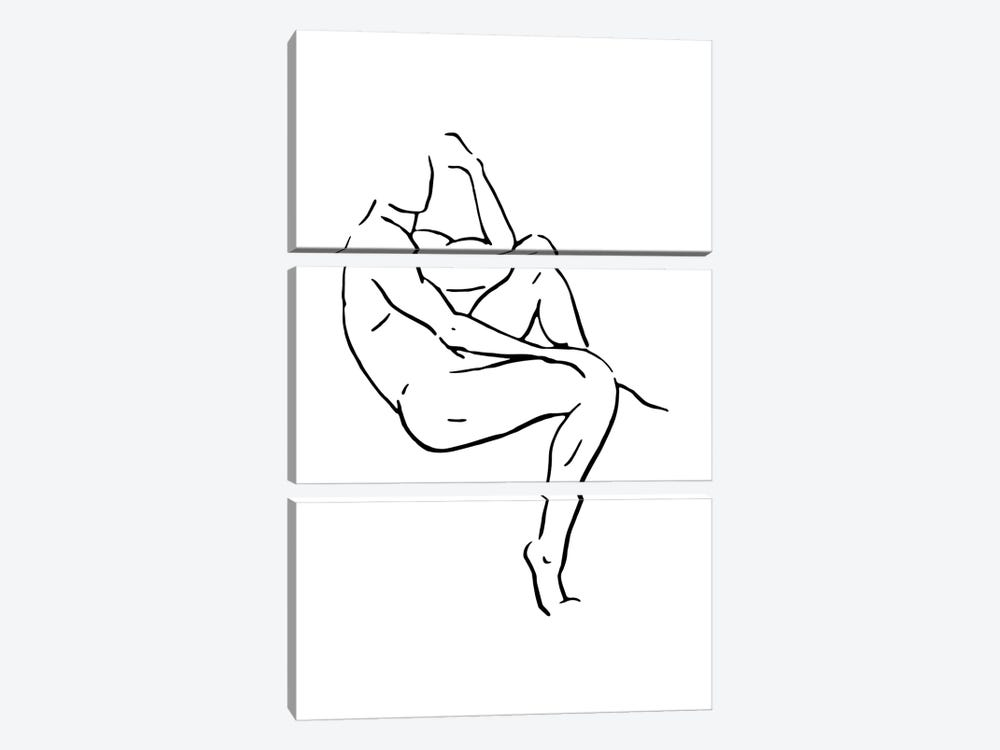 Male Body Sketch II - Black And White by Nouveau Prints 3-piece Canvas Wall Art