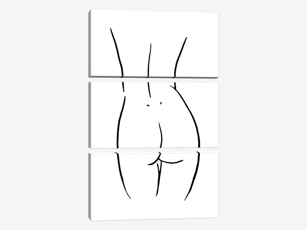 Female Body Sketch V - Black And White by Nouveau Prints 3-piece Canvas Artwork