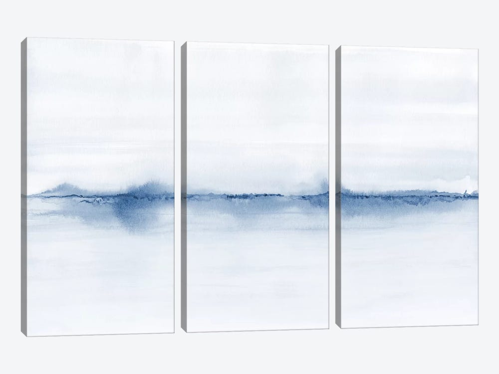 Watercolor Landscape V - Shades Of Blue by Nouveau Prints 3-piece Canvas Art