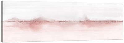 Watercolor Landscape VI - Blush Pink And Gray - Panoramic Canvas Art Print