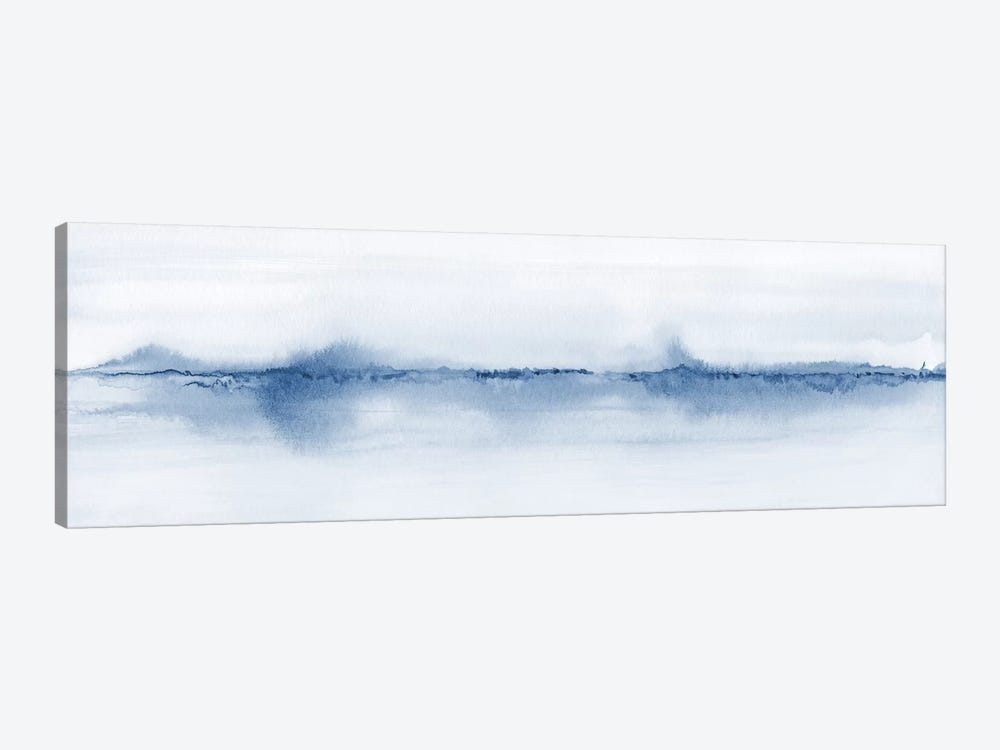 Watercolor Landscape V - Shades Of Blue - Panoramic 1-piece Canvas Art