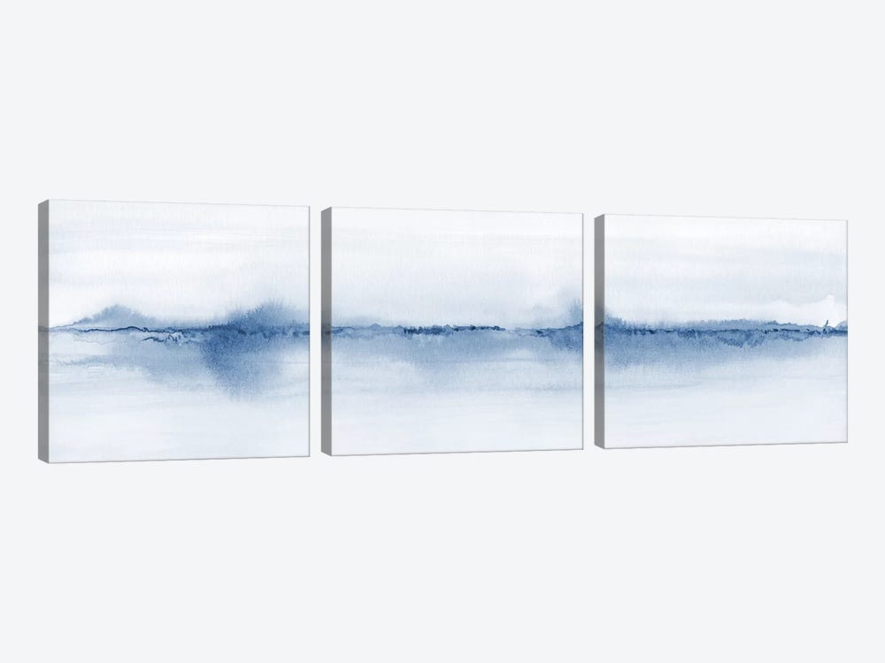 Watercolor Landscape V - Shades Of Blue - Panoramic 3-piece Canvas Art