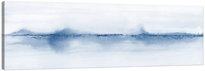 Watercolor Landscape V - Shades Of Blue - Panoramic Canvas Art Print
