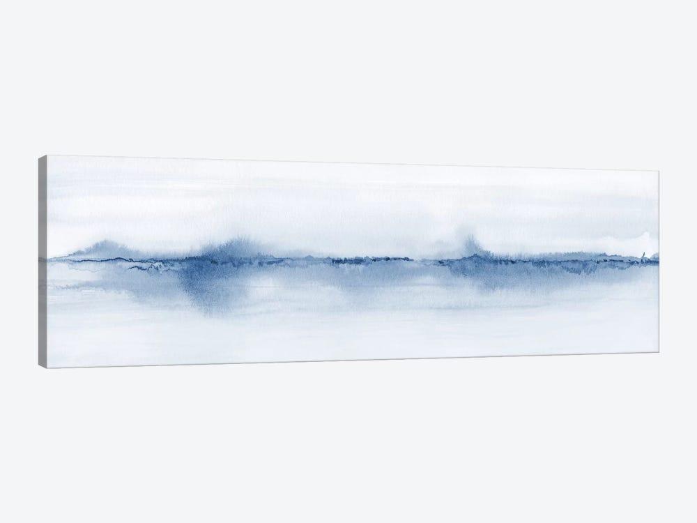 Watercolor Landscape V - Shades Of Blue - Panoramic by Nouveau Prints 1-piece Canvas Art