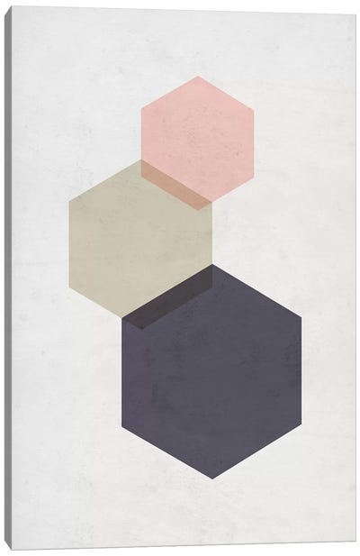 Hexagons - Gray Background Canvas Art Print