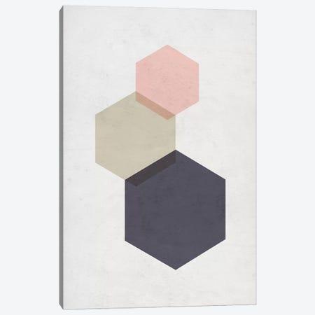 Hexagons - Gray Background Canvas Print #NUV143} by Nouveau Prints Art Print