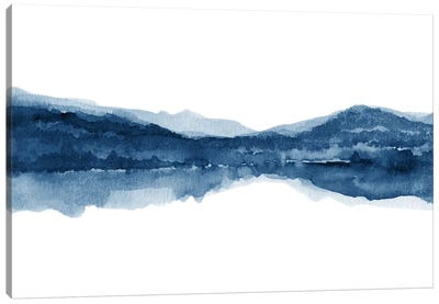 Watercolor Landscape X - Navy Blue Canvas Art Print