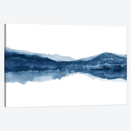 Watercolor Landscape X - Navy Blue 3-Piece Canvas #NUV145} by Nouveau Prints Canvas Art