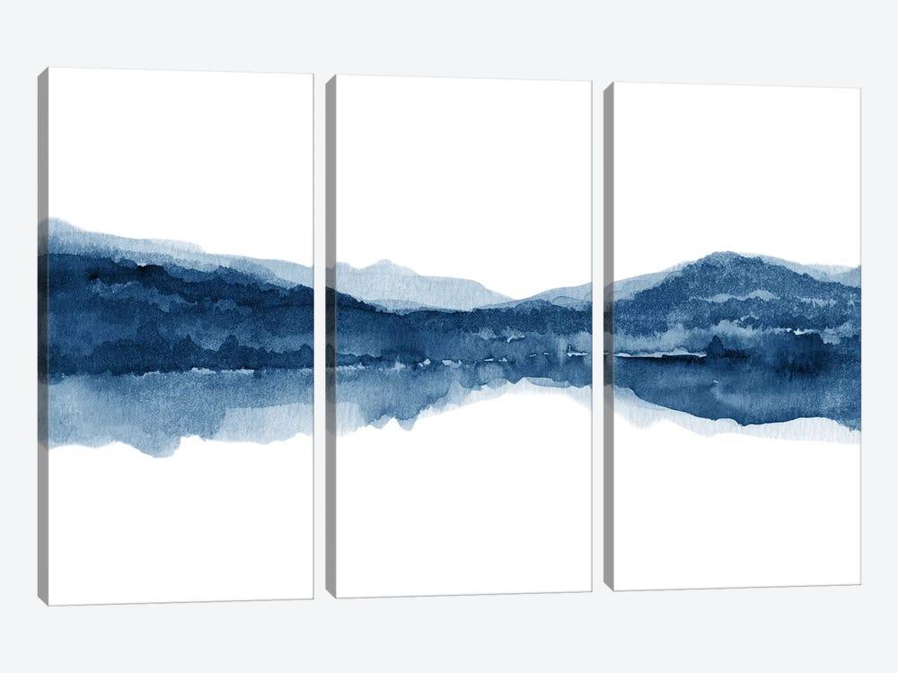 Watercolor Landscape X - Navy Blue by Nouveau Prints 3-piece Canvas Artwork