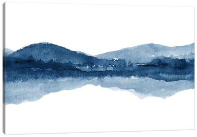 Watercolor Landscape Xi - Navy Blue Canvas Art Print