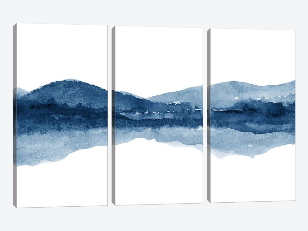 Watercolor Landscape Xi - Navy Blue by Nouveau Prints 3-piece Canvas Print
