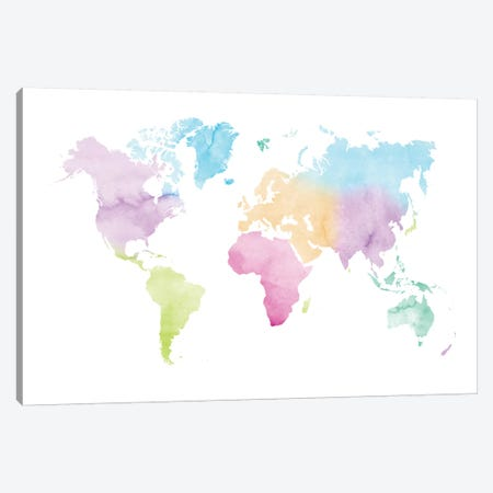Watercolor World Map - Vivid Colors Canvas Print #NUV153} by Nouveau Prints Canvas Artwork