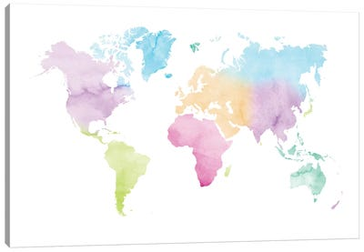 Watercolor World Map - Vivid Colors Canvas Art Print