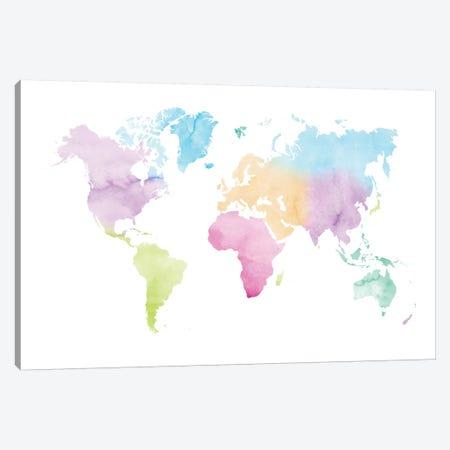 Watercolor World Map - Vivid Colors Canvas Print #NUV153} by Nouveau Prints Canvas Artwork
