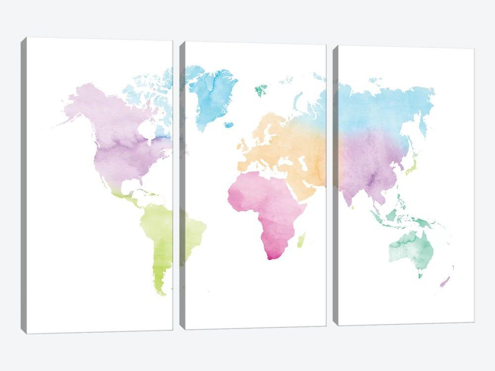 Watercolor World Map - Vivid Colors by Nouveau Prints 3-piece Canvas Print