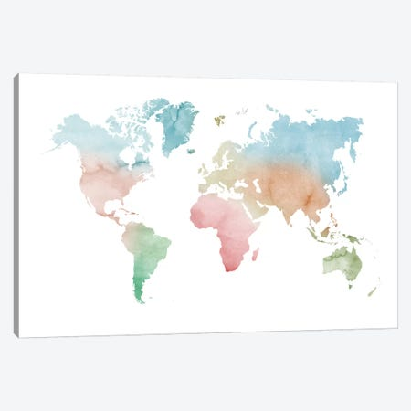 Watercolor World Map - Pastels Colors Canvas Print #NUV154} by Nouveau Prints Canvas Art Print
