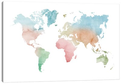 Watercolor World Map - Pastels Colors Canvas Art Print