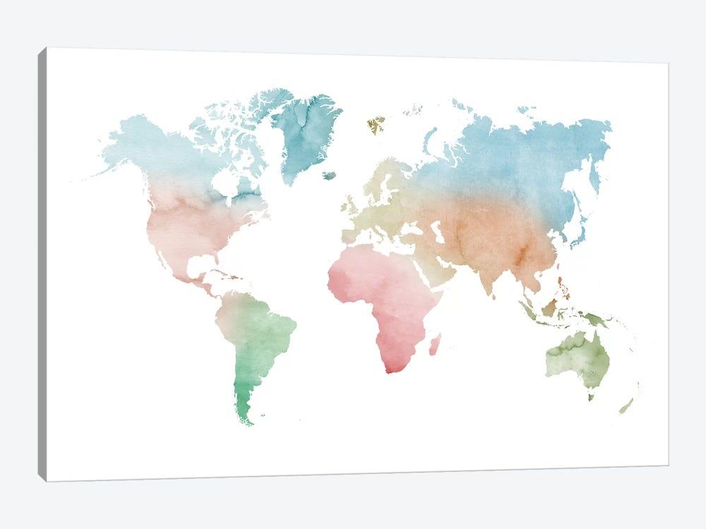 Watercolor World Map - Pastels Colors by Nouveau Prints 1-piece Canvas Wall Art