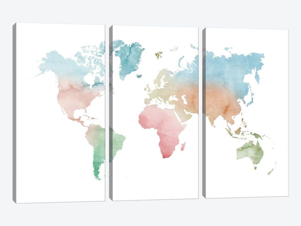 Watercolor World Map - Pastels Colors by Nouveau Prints 3-piece Canvas Wall Art