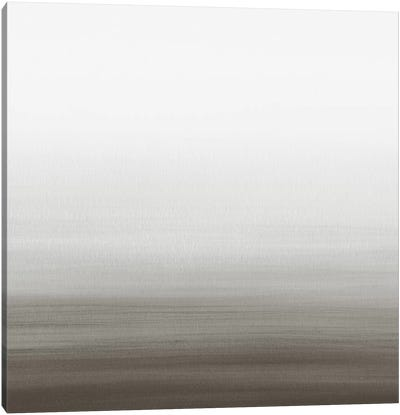 Watercolor Abstract Seascape Black And White - Square Canvas Art Print