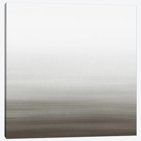 Watercolor Abstract Seascape Black And White - Square Canvas Print #NUV173} by Nouveau Prints Canvas Artwork