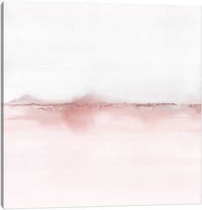Watercolor Landscape VI - Blush Pink And Gray - Square Canvas Art Print
