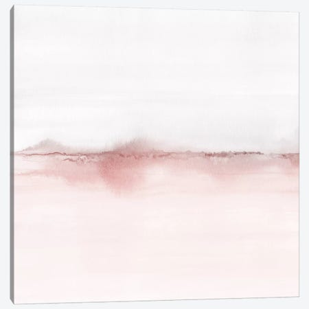 Watercolor Landscape VI - Blush Pink And Gray - Square Canvas Print #NUV176} by Nouveau Prints Canvas Art Print