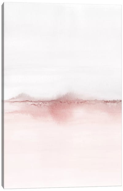 Watercolor Landscape VI - Blush Pink And Gray 1/2 Canvas Art Print