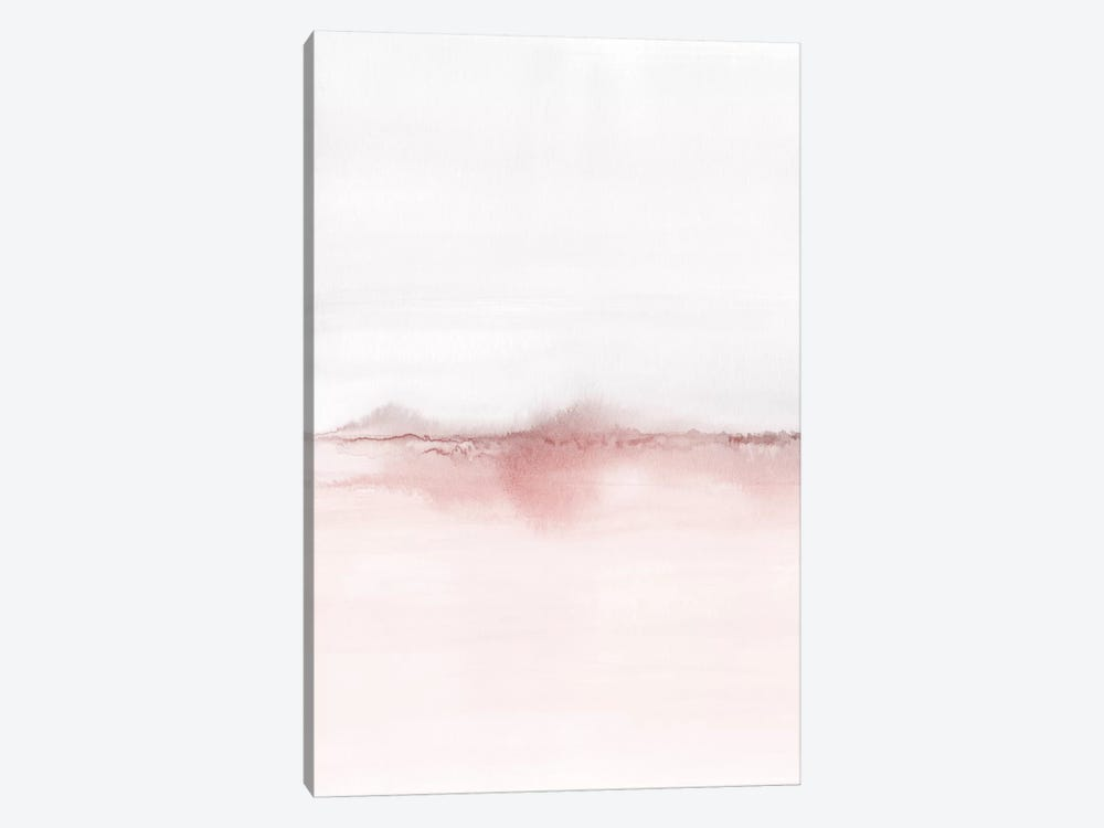 Watercolor Landscape VI - Blush Pink And Gray 1/2 1-piece Canvas Print
